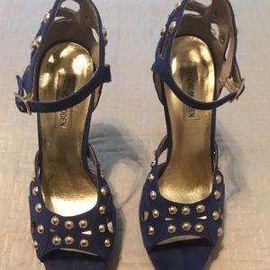 Steve Madden blue gold suede sandals